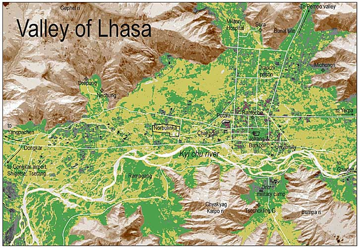 Карта Лхасы. Lhasa Map