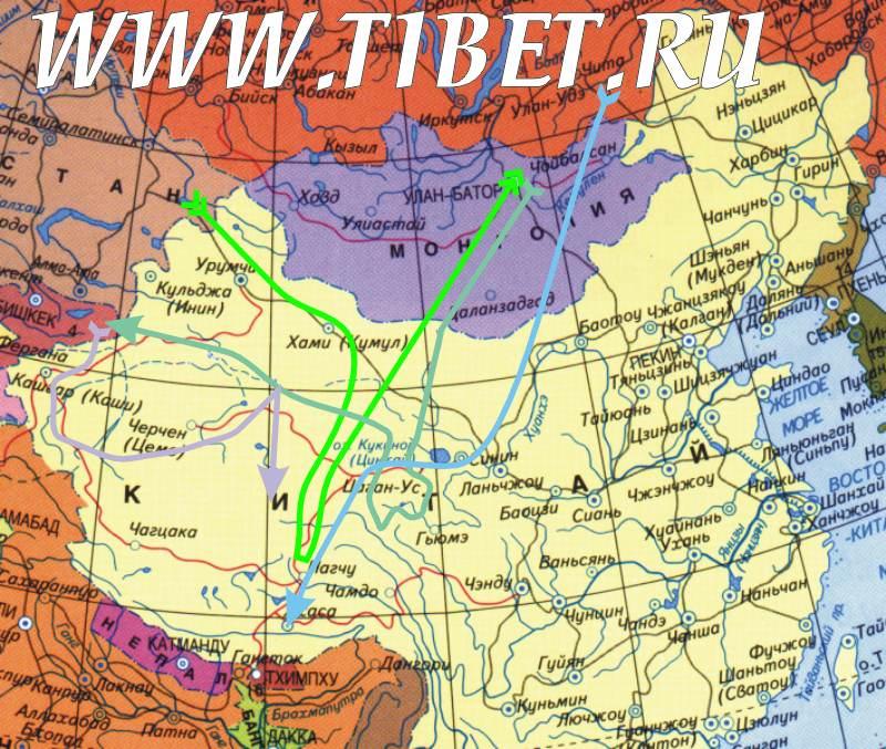 Маршруты великих первооткрывателей Тибета