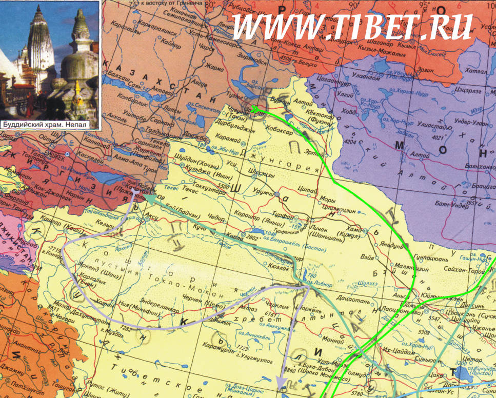Карта Тибета