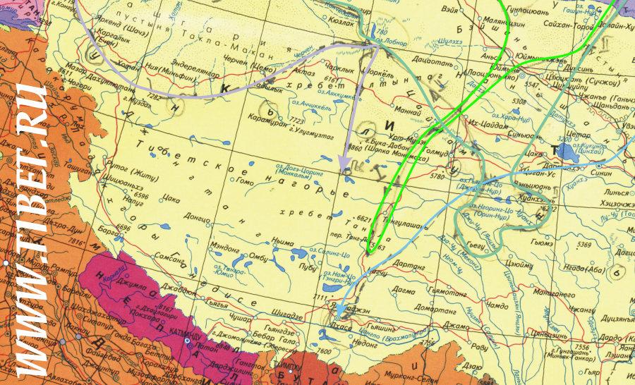 Карта Тибета. Маршруты тибетской экспедиции