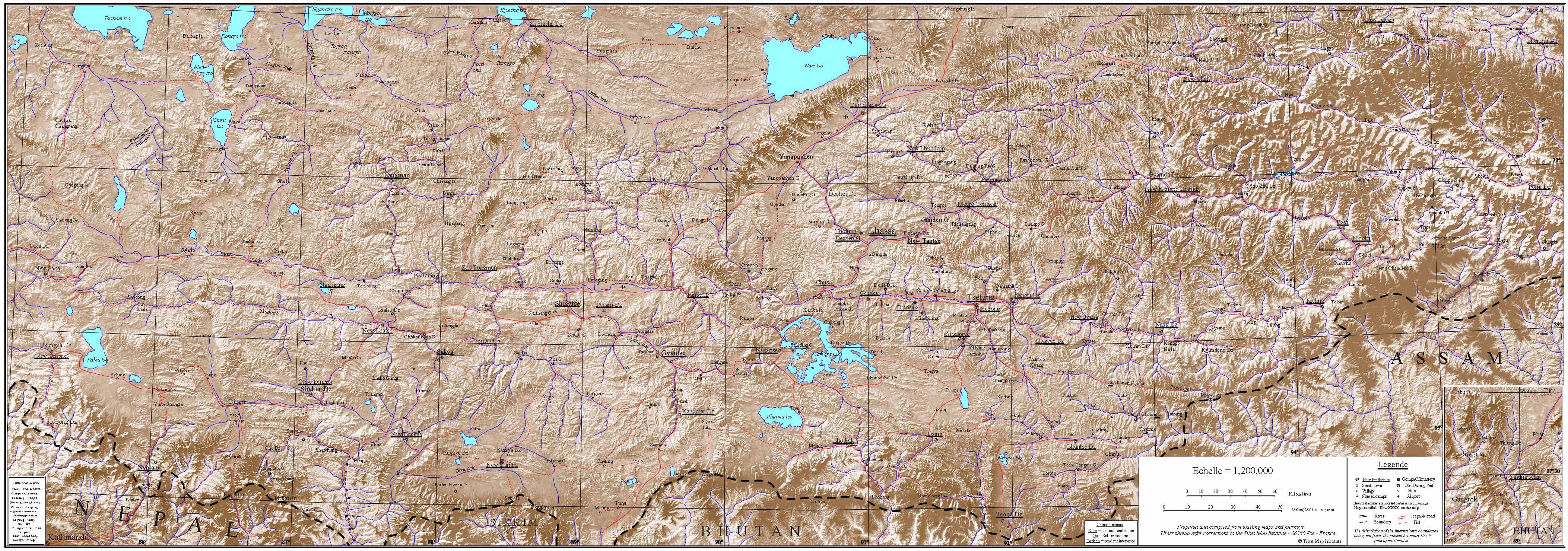 Подробная туристическая карта Тибета с рельефом местности